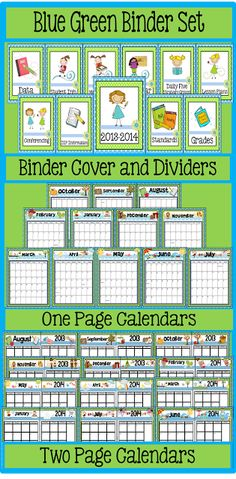 Blue/Green Binder Set