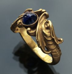 Another beautiful serpent ring: Gold Sapphire. REVIVALIST  Impressive Double Headed Sea Serpent Ring. French, c.1880.