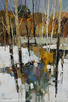 Gorgeous abstract art Birch Tree paintings with great colors!