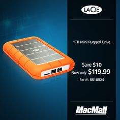 Get a great deal on a 1TB #LaCie mini rugged drive at MacMall.