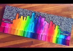 DIY melted crayon painting. Skyline.