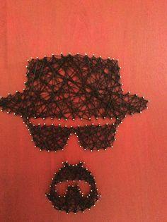 Heisenberg string art $35. Breaking Bad HeartStringsByJoyce Www.Etsy.com/shop/HeartStringsByJoyce