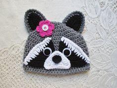 22aa274feef7bd Crochet Raccoon Beanie Style Hat Wildlife Animals Winter Crochet Girls,  Cute Crochet, Crochet For