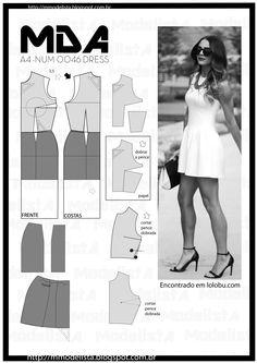 ModelistA: A4 NUM 0046 DRESSquinta-feira, 26 de março de 2015 A4 NUM 0046 DRESS Os minivestidos são roupas que, por maior que seja o desejo de discrição da mulher, fazem que as atenções sejam atraídas. Inevitavelmente, os olhares se direcionam às pernas (ou glúteos, quando o modelo é muito justo), fazendo destes vestidos algo muito sensual.