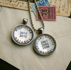 Custom Names Necklace  Vintage Postmark Necklace  by CrowBiz, $30.00