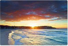 Bondi Beach, 6:40am as the sun edges over the hill