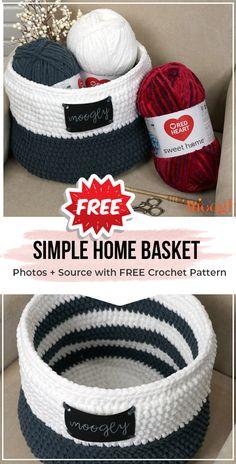 crochet Simple Home Basket free pattern - easy crochet basket pattern for beginners Knitting TechniquesKnitting HumorCrochet Hair StylesCrochet Ideas Crochet Bowl, Crochet Basket Pattern, Knit Basket, Crochet Patterns, Crochet Baskets, Easy Patterns, Crochet Simple, Free Crochet, Crochet Storage