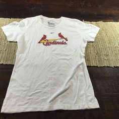 ba188522b06 Womens Nike Slim Fit St Louis Cardinals MLB White Logo T Shirt Sz Medium
