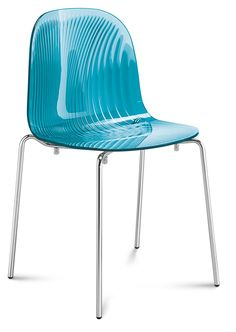 Modern Blue Chair: DomItalia Playa Stacking Transparent Blue Chair for Dining #DiningChair #ItalianFurniture