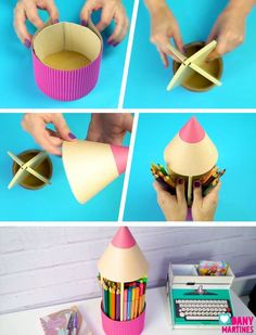 Mini organizer project for your desk – Page 726979564823473655 – BuzzTMZ Kids Crafts, Diy Crafts Hacks, Craft Stick Crafts, Diy And Crafts, Cardboard Box Crafts, Paper Crafts, Pencil Organizer, Pen Collection, Recycled Crafts