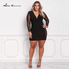 Lan Karswear Bodycon Mesh V-neck Sexy Club Bandage Dresses Plus Size 3xl Free Shipping