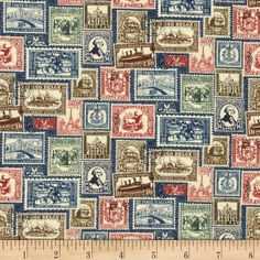 Vintage Travel Stamps Blue from @fabricdotcom  Designed by Deborah Edwards for Northcott Fabrics, this cotton print fabric is perfect for quilting, apparel and home decor accents. Colors include shades of red, brown, blue and green.