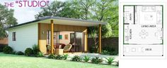 The Studio Ɩ Lifestyle Granny Flats Ɩ BrisbaneLifestyle Granny Flats Backyard House, Backyard Studio, Small House Plans, House Floor Plans, Granny Flat, Beach Shack, Living Styles, House Extensions, Interior And Exterior