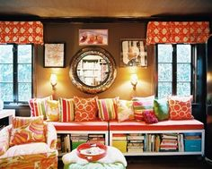 Colored cushions. window. book space. mirror