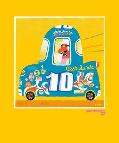 """Brian Biggs Race car 10, Bon Jean Mixta """"Brooooom!, brooooom!!!, aparece la bandera verde en su agitado movimiento, y a toda velocidad, por el carril central y en pole position tenemos a Brian Biggs, mostrándonos su escudería única de bellos ejemplares que delatan el color, la forma y especial estilo de este artista gráfico."""" txt Jesusa Chairez Brito"""