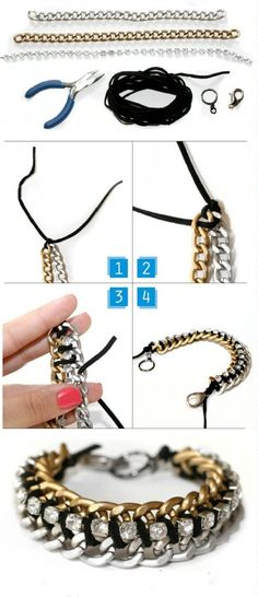 like the laced chains in this diy bracelet#diy jewelry