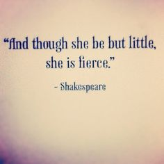 Even though you are small and be portrayed as useless. Keep your head up and take nothing from other people. Shakespeare is saying to stay fierce no matter what happens in your life.
