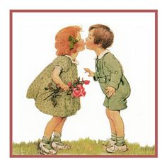 Boy and Girl Exchanging A Kiss By Jessie Willcox Smith Counted Cross S | Orenco Originals LLC