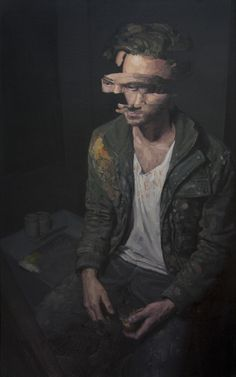 adamlupton: This one is still untitled, but wanted to put it up anyways since I've given enough teasers. It was my final self portrait for my first term. Still a few things left to touch up, but it's mainly all there. 30 x 48, oil on canvas.