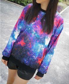 Galaxy Print Sweatshirt with Round Neckline - Sweatshirts & Hoodies - Clothing
