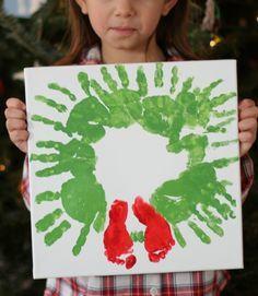 Christmas Handprint footprint  craft for siblings #babyfootprint #handprintwreathe