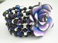 Large Polymer Clay Black Blue Purple Rose Flower by OctoberPetals