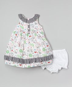 Look at this White Animal Dress & Diaper Cover - Infant, Toddler & Girls on #zulily today!18.99