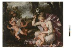 """Pietro Liberi (Padova, 1605 - Venezia, 1687) """"Venere punisce Cupido"""", olio su tela, cm 147x197"""