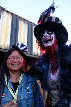 WackyTrish with the Ringmaster at the Queen Mary's Dark Harbor!  Whoo Hoo! Dark Harbor, Queen Mary, How To Take Photos, Trick Or Treat, The Darkest, Creepy, Take That, Costumes, Ship