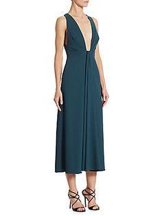 ML Monique Lhuillier Plunging V-neck Cocktail Dress