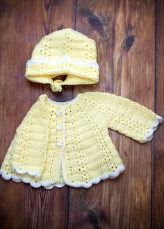 Crochet Baby Sweater & Hat. $22.00, via Etsy.
