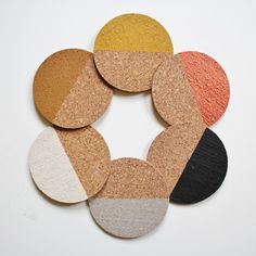 Cork coasters, Dip Dye hand painted - Set of 6 coasters in safari with copper colour palet.
