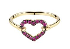 Open heart ring in 18k goldset with 0.16 carats of rubies. Painted with black rhodium around the stones.  Heart floatsfreely in jump rings, giving it sparkl
