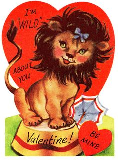 Two Crazy Crafters: Vintage Lion Valentine
