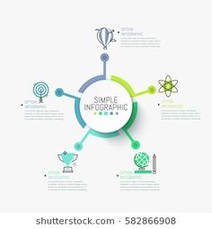 Round element in center connected with 5 symbols and text boxes. Five successful strategies to achieve scientific goals concept. Vector illustration for report. Layout Design, Web Design, Flow Chart Design, Diagram Design, Circle Infographic, Infographic Templates, Infographics, Presentation Design, Knowledge Management