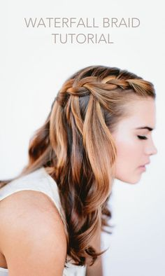 A hair idea - DIY Waterfall Braid Tutorial. #howto #DIY