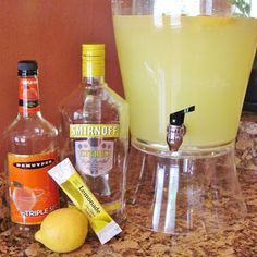 BonnieProjects: Lemon Drop Martinis Party-Sized Lemon Drop Martinis (enough to quench the thirsts of 50 people) 3 gallon drink dispenser Smirnoff Citrus Vodka (1.75 L bottle) DeKuyper Triple Sec (1 L bottle) 2 gallons water 4 packages sugar-free lemonade mix Mix and serve over ice!