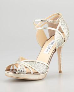 Jimmy Choo ~ Fayme Glitter Platform Sandal