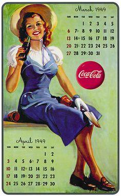 Gil Elvgren (American, Coca-Cola Calendar, 1949 Print 22 x 13 in. (sheet, each) - Available at 2018 April 24 Illustration Art. Coca Cola Poster, Coca Cola Ad, Always Coca Cola, World Of Coca Cola, Coca Cola Bottles, Coca Cola Vintage, Pin Ups Vintage, Vintage Ads, Vintage Signs