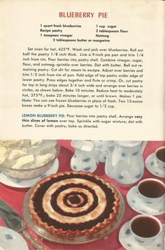 These vintage pie recipes are from A Picture Treasury of Good Cooking The pies look delicious! Hope you have fun trying out the recipes!use vintage dishes! You may also like these recipes: :) Retro Recipes, Old Recipes, Vintage Recipes, Cookbook Recipes, Sweet Recipes, Baking Recipes, 1950s Recipes, Southern Recipes, Cake Recipes
