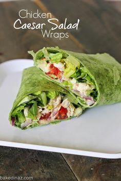 Grilled Chicken Caesar Salad Wraps - easy dinner or lunch! #wrap #caesarsalad