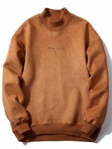 Crew Neck Graphic Print Suede Sweatshirt CAMEL: Hoodies & Sweatshirts M | ZAFUL