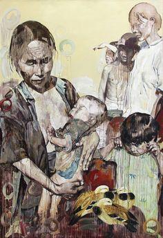 Refugee Opera, Hung Liu, Oil on canvas, 114 x 78 (736×1073)