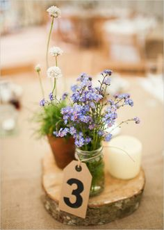 Alternative thrify natural diy wedding table numbers and decoration idea woodland weddibg
