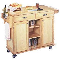 Napa Solid Wood Natural Finish Rolling Kitchen Center, (kitchen Cart,  Kitchen Island,