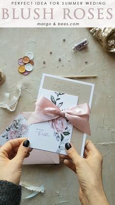Wedding invitations with flowers and pink ribbon – The Best Ideas Handmade Wedding Invitations, Save The Date Invitations, Wedding Invitation Cards, Wedding Stationery, Wedding Cards, Wedding Gifts, Wedding Souvenir, Wedding Invitations With Ribbon, Trendy Wedding