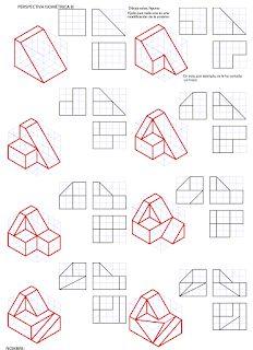 losmuertosdeldiedrico: PERSPECTIVA ISOMÉTRICA 1º BACHILLERATO Isometric Sketch, Autocad Isometric Drawing, Isometric Drawing Exercises, Isometric Map, Orthographic Projection, Orthographic Drawing, Cad Drawing, Drawing Sketches, Perspective Drawing Lessons