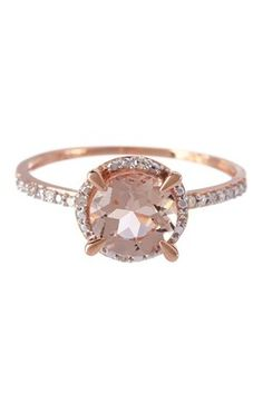 Delmar Two-Tone Diamond Trimmed Round Morganite Fashion Ring