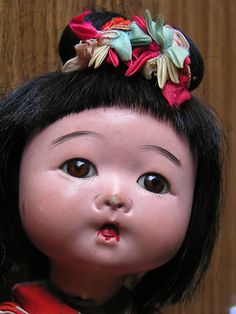 Asian Oriental Chinoserie Japanese Compo Doll Baby Girl  - I found one just like this at the thrift store a few weeks ago. <3