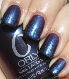 Orly Dark Shadows Collection- Mysterious Curse is a dark bluple with very strong blue shimmer.